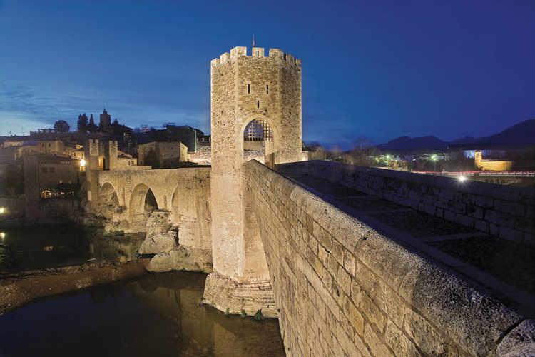 Medieval bridge at night