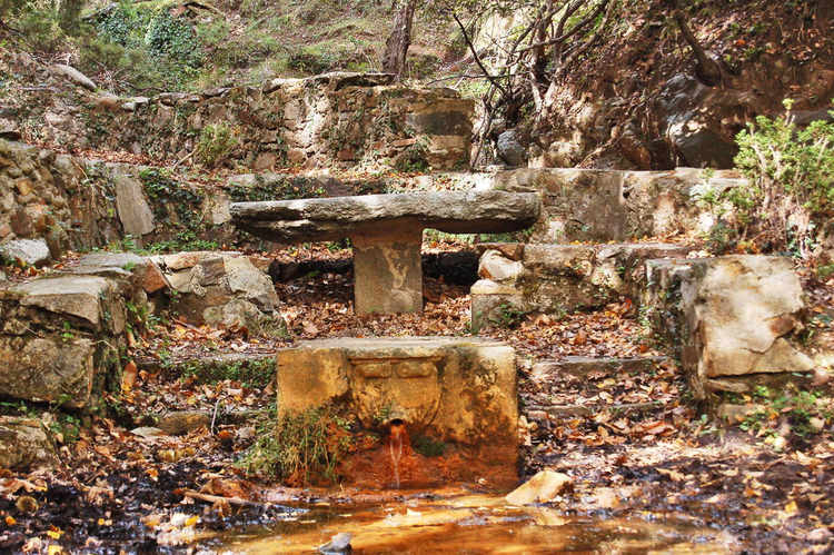 A fountain by the path